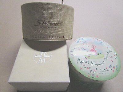 Lucien Lelong Sirocco, White Mink, Dusting Powder, Cheramy April Showers Tin