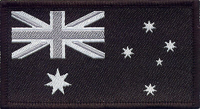 Australian Flag Black Military Navy, Woven Badge, Patch 8cm x 4.5cm