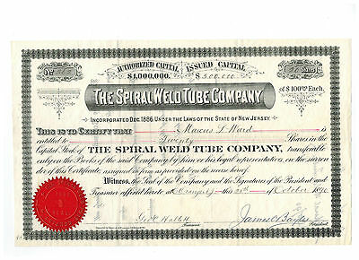 The Spiral Weld Tube Company *1890* Stock Certificate!  #262