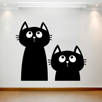 Large Wall Decal Sticker Art Removable Waterproof Vinyl Transfer Two Black Cats