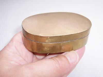 "Antique / Vintage WW1 TRENCH ART Brass SNUFF/Storage/Trinket BOX -  Oval 3"" Long"