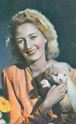 Old RARE Postcard PC Lady & Great Pyrenees Puppy Dog Italy c1940