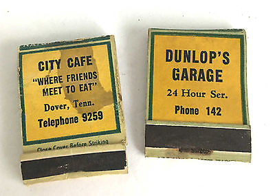2 Very Old Matchbooks (covers) w/Coca-Cola Dunlaps Garage City Cafe Advertising