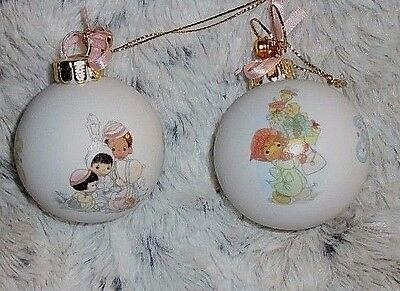 "Pair porcelain 1996 Precious Moments Christmas ornament ball, 2 1/4"" across"
