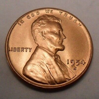 1954 S Wheat Cent / Penny *BU / MS RED - MINT STATE RED*  *FREE SHIPPING*