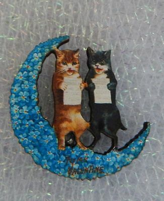 Singing Cats on Moon Brooch or Scarf Pin Wood Accessories Fashion NEW Blue