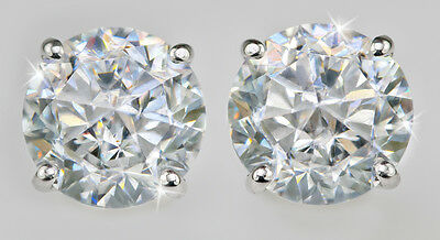 2 ct tw Stunnig Screw Back Earrings Top CZ Moissanite Simulant Sterling Silver