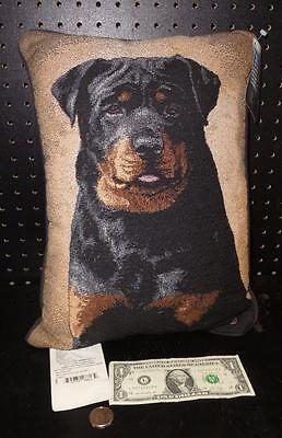 RottweilerTapestry Pillow by Linda Pickens