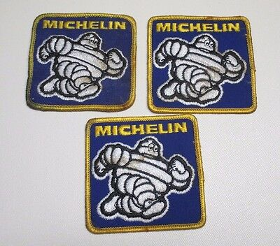 """Michelin Man Tires 3"""" Square Iron On Patches (3)"""