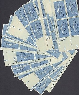 {BJ Stamps} #1185   Naval Aviation.  25 Plate Blocks of 4 cent stamps.  In 1961
