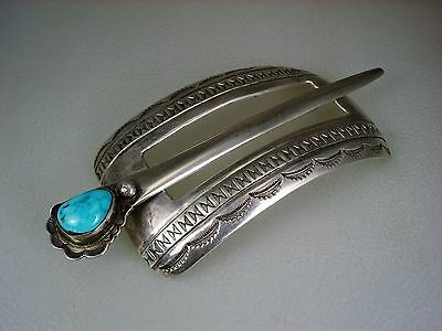Big Old Navajo Stamped Sterling Silver & Turquoise Barrette Hair Ornament