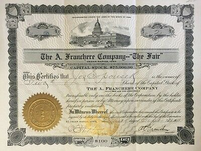 "Antique The A. Franchere Company--""The Fair"" stock certificate, 1911"