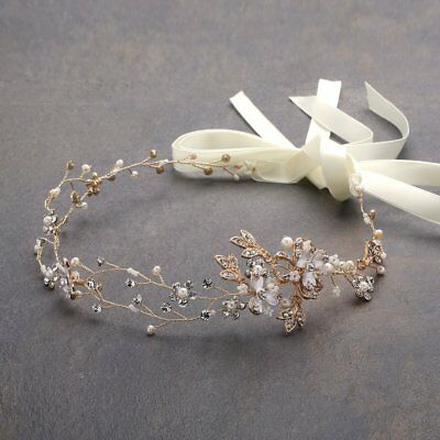Freshwater Pearl Crystal Gold Wedding Headband Hair Vine Ribbons 14K Gold Plated