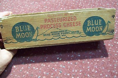 Vintage Blue Moon Process Cheese 2 Lb. Wooden Box Thorp, Wisconsin WI