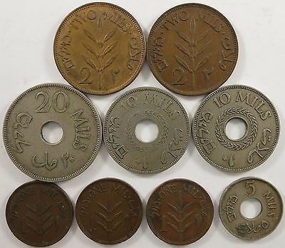 Best Offer! Palestine coin lot, 1, 2, 5, 10, and 20 mils coins, 1920's to 1940's
