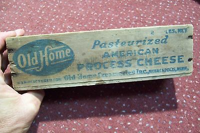 Vintage Old Home American Cheese 2 Lb. Wooden Box Minneapolis, Minnesota MN