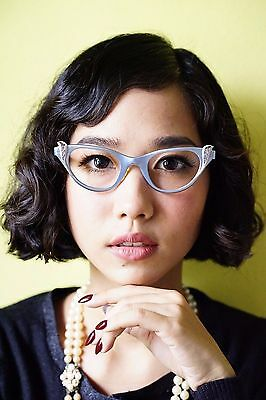 Vintage eyeglass Cat eye Tura 1960's New Old Stock All Metal Frame Blue