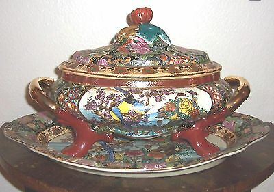 Antique Royal Satsuma Tureen With Underplate-Japanese Moriage Porcelain-14 lbs