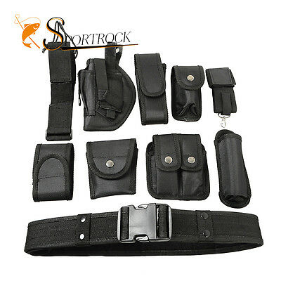 Tactical Security Policemen Guard Utility Kit Duty Belt with 9 Pouches System
