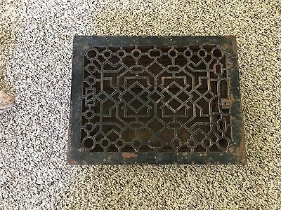 "Antique 1894 Ornate Cast Iron Floor Grate Vent Register 9""x12"" Rough Opening"