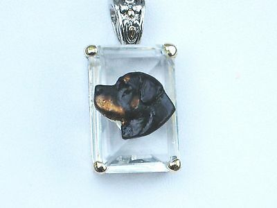 Rottweiler Crystal Pendant~Classic&Unique~Handpaintd Dog rottie rotty rottwieler