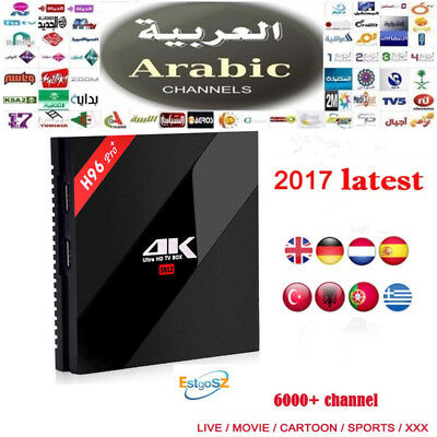 Arabic H96 PRO+ 3G/32G Android TV Box IPTV Box 6000+ HD Channels Free for Life