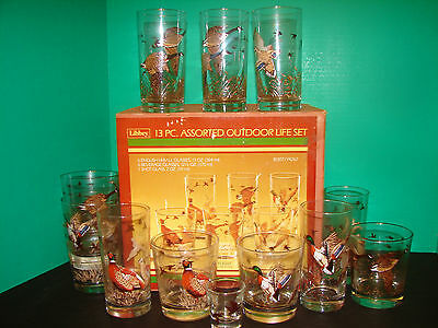 Vintage Libbey Brand 13 Pc Set Hi-Ball Whiskey Shot Glass Geese Pheasants Ducks