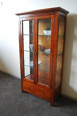 Monash Display Cabinet Brand New Hardwood Timber Solid Glass Storage
