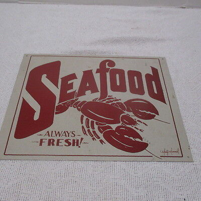 "Tin ""Seafood Always Fresh"" Lobster Sign 12 1/2"" x 16"""