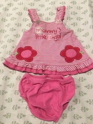 Wishes & Kisses Infant Baby Girl's Dress & Diaper Cover Set Size 0-3 Months