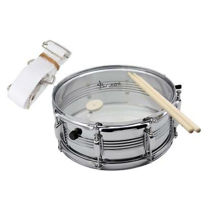 14inch Snare Drum w/ Hand Beat Sticks Drum Wire Hold Strap Xmas Gift Silver