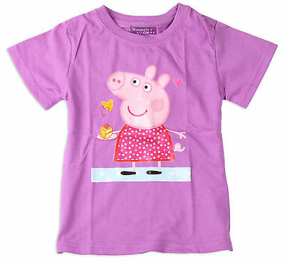 Girls Children Kids Purple Peppa Pig Style Summer Top T-Shirt