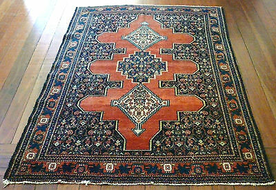 Beautiful Rare Genuine Antique Senneh Finely Knotted Pile Rug C1900