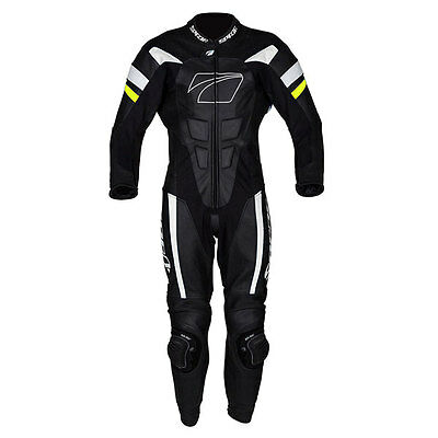 Spada Curve Evo Black / White / Fluo Motorcycle One Piece Leather Suit All Sizes