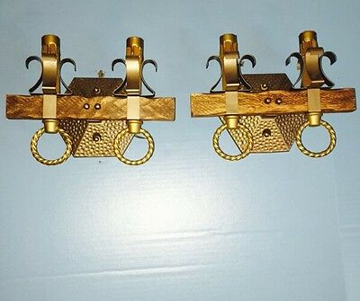 Unique Pair of Spanish Revival Arts And Crafts 2 Sconces Restored Wired