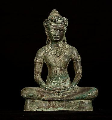Antique Lopburi Style Thai Bronze Meditation Buddha Statue - 27cm/11""