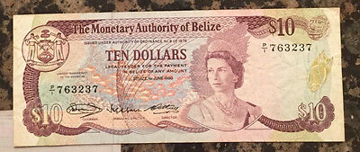 BELIZE TEN DOLLARS PICK NUMBER P40 year 1980 grade(VF)