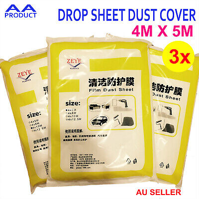 3x 4M*5M Disposible Clear Plastic PVC Film Painter Drop Sheet Dust Cover