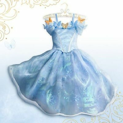 Disney Cinderella Dress Movie Sandy Girl Princess Gown Cosplay Costume  Age 3-10
