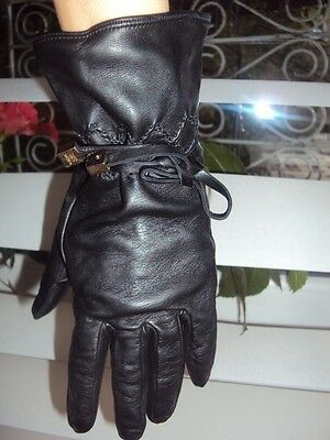 Celyn B guanti neri lunghi in pelle women supersoft leather gloves M