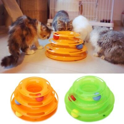Pet Cat Crazy Ball Disk Interactive Funny Toys Amusement Plate Trilaminar Toy