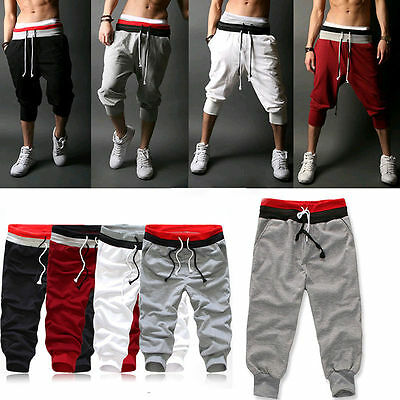 AU Mens 3/4 Knee Harem Jogger Pants Loose Casual Gym Rope Sports Shorts Trousers