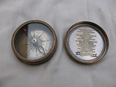 Rare Vintage Marine Antique Brass Compass Old Style Directional Nautical Compass