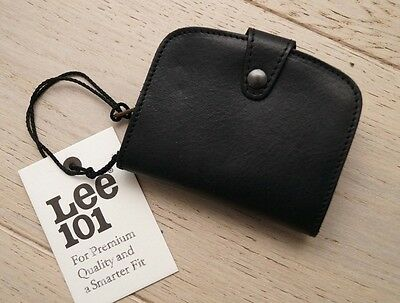 Bnwt Lee 101 Wallet Black Natural Leather Zip Closing Brieftasche