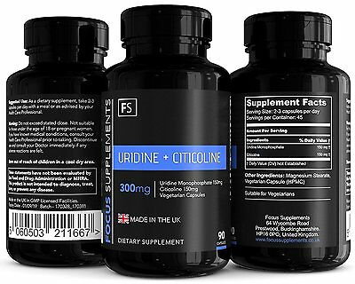 Uridine Monophosphate + CDP Choline (Citicoline)  |  300mg  |  90 Capsules