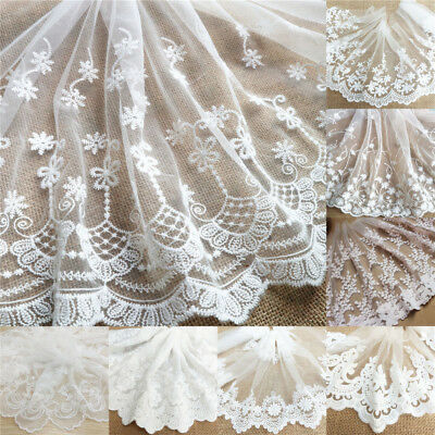 13M Floral Eyelash Embroidered Lace Trim Tulle Net Fabric Sewing Dress Crafts
