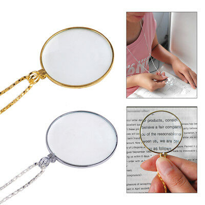 5 Times Magnifier Magnifying Glass Lens Monocle Pendant Chain Necklace Jewelry