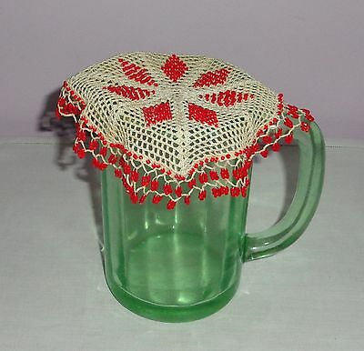 Vintage/antique Beaded/bead Ivory Crochet Milk Jug Cover Small Red Glass Beads