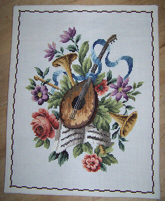 """Musical Instrument & Floral Tapestry Picture 25"""" x 20""""  Lute With Horns"""