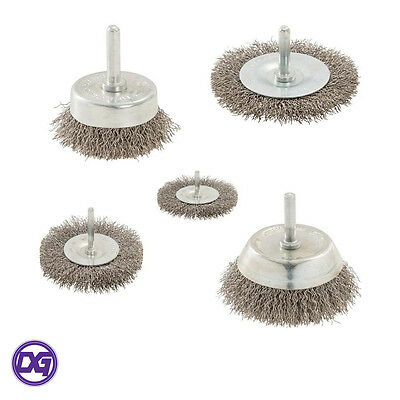 Stainless Steel Bristled Wire Wheel Brushes Cup/Flat Option. Drill Rust Removal